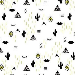 Sweet modern boho tribal indian summer ethnic  pop print black and white mustard yellow