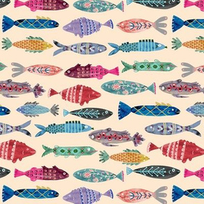 Small Colorful Folk Fish- tan background