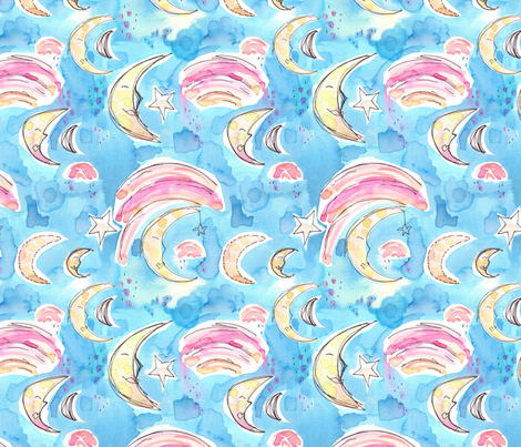 night sky abstract fabric by erinanne on Spoonflower - custom fabric