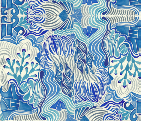 Dreamy_Blue_Abstract fabric by ed_designs on Spoonflower - custom fabric