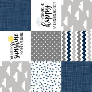 You Are My Sunshine Block Blanket - Navy - Rotated