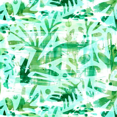 Abstract Jungle - Watercolor Blue fabric by heatherdutton on Spoonflower - custom fabric