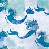 Mermaids & Seahorses in Ocean Blue