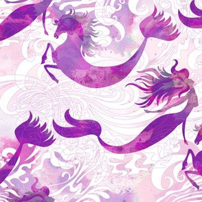 Mermaids & Seahorses in Sea Urchin Purple