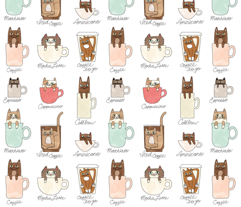 Coffee Cats in Milky fabric by pinkowlet on Spoonflower - custom fabric