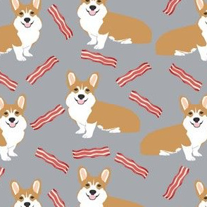 corgi bacon fabric dogs and bacon treats fabric design - grey