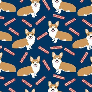 corgi bacon fabric dogs and bacon treats fabric design - navy