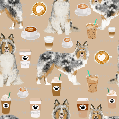 sheltie fabric shetland sheepdogs and coffee fabric design food and dogs fabric - neutral