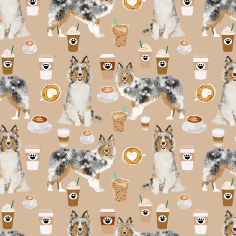 sheltie fabric shetland sheepdogs and coffee fabric design food and dogs fabric - neutral fabric by petfriendly on Spoonflower - custom fabric