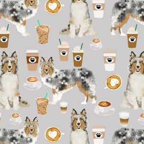 sheltie fabric shetland sheepdogs and coffee fabric design food and dogs fabric - grey