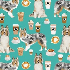 sheltie fabric shetland sheepdogs and coffee fabric design food and dogs fabric - turquoise
