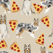 sheltie fabric shetland sheepdogs and pizza fabric design food and dogs fabric - neutral