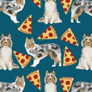 sheltie fabric shetland sheepdogs and pizza fabric design food and dogs fabric - sapphire blue
