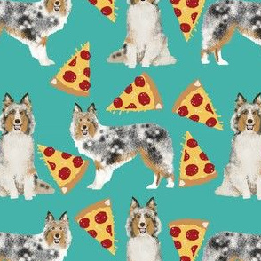 sheltie fabric shetland sheepdogs and pizza fabric design food and dogs fabric -turquoise