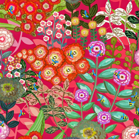 Bees In The Garden fabric by susan_polston on Spoonflower - custom fabric