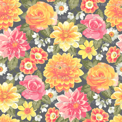 Summer Colourful Floral Flowers on Dark grey