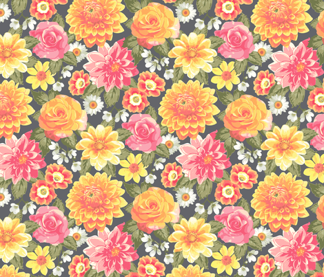 Summer Colourful Floral Flowers on Dark grey fabric by caja_design on Spoonflower - custom fabric
