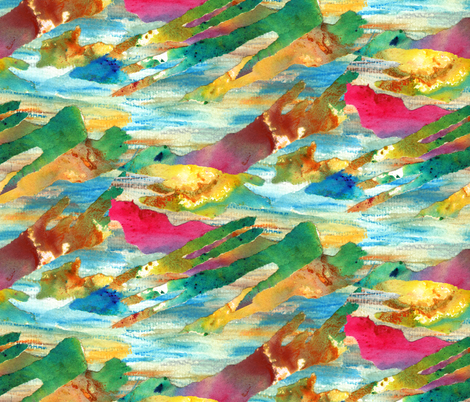 Crazy Watercolour Collage fabric by lizplummer on Spoonflower - custom fabric