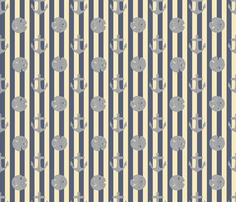 anchors_and_sandollars_gray_on_weathered_blue_and_cream fabric by heretherebemonsters on Spoonflower - custom fabric