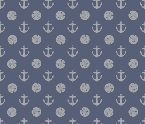 anchors_and_sandollars_gray_on_weathered_blue fabric by heretherebemonsters on Spoonflower - custom fabric