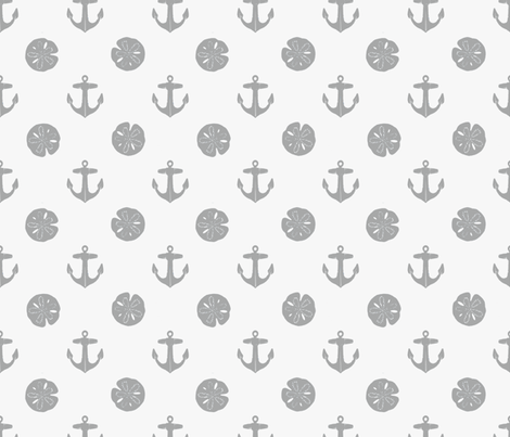 anchors_and_sandollars_gray_on_white fabric by heretherebemonsters on Spoonflower - custom fabric