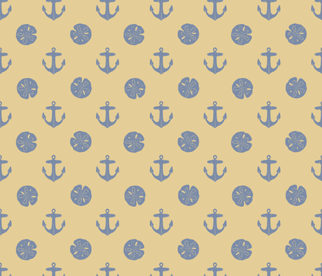 anchors_and_sandollars_grayblue_on_khaki fabric by heretherebemonsters on Spoonflower - custom fabric