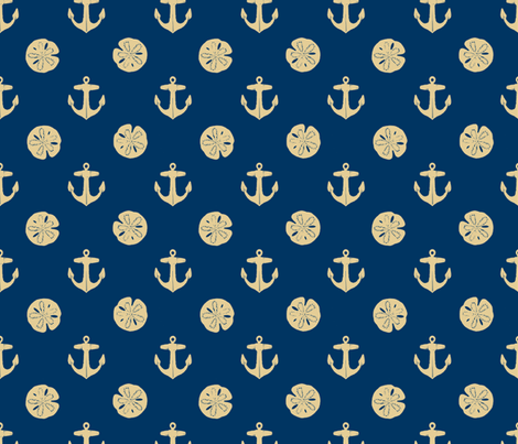 anchors_and_sandollars_khaki_on_navy fabric by heretherebemonsters on Spoonflower - custom fabric