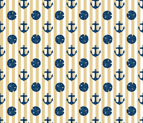 anchors_and_sandollars_navy_on_khaki_and_white fabric by heretherebemonsters on Spoonflower - custom fabric