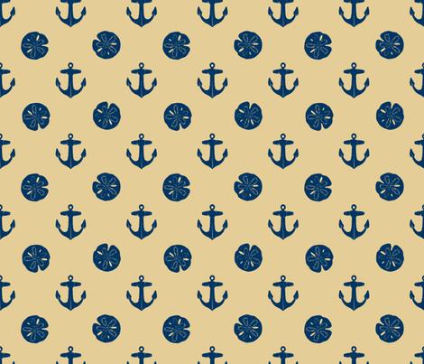 anchors_and_sandollars_navy_on_khaki fabric by heretherebemonsters on Spoonflower - custom fabric