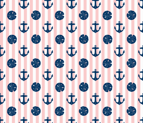 anchors_and_sandollars_navy_on_pink_and_white fabric by heretherebemonsters on Spoonflower - custom fabric