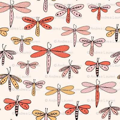 dragonflies fabric dragonfly insects girls fabric baby nursery sweet little girls fabric - orange
