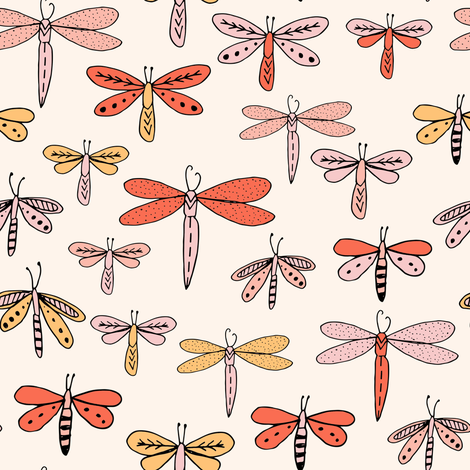 dragonflies fabric dragonfly insects girls fabric baby nursery sweet little girls fabric - orange fabric by andrea_lauren on Spoonflower - custom fabric