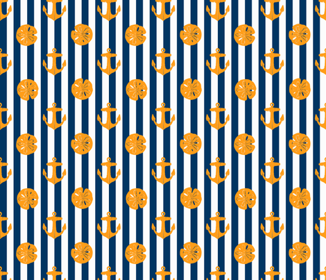 anchors_and_sandollars_orange_on_navy_and_white fabric by heretherebemonsters on Spoonflower - custom fabric
