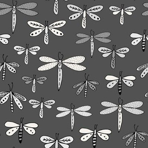 dragonflies fabric dragonfly insects girls fabric baby nursery sweet little girls fabric - charcoal