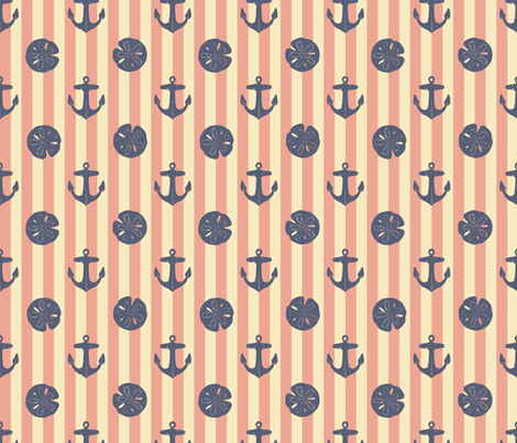 anchors_and_sandollars_weathered_blue_on_nan_red_and_cream fabric by heretherebemonsters on Spoonflower - custom fabric