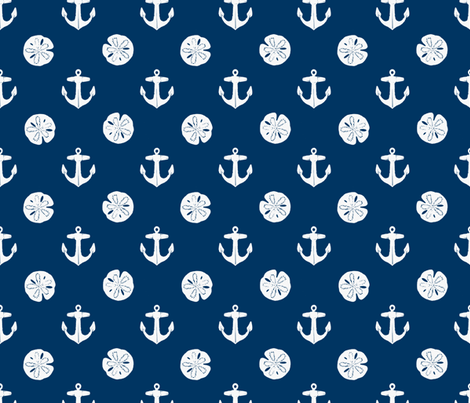 anchors_and_sandollars_white_on_navy fabric by heretherebemonsters on Spoonflower - custom fabric