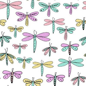 dragonflies fabric dragonfly insects girls fabric baby nursery sweet little girls fabric - pastels