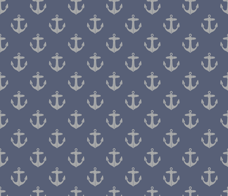 anchors_gray_on_weathered_blue fabric by heretherebemonsters on Spoonflower - custom fabric