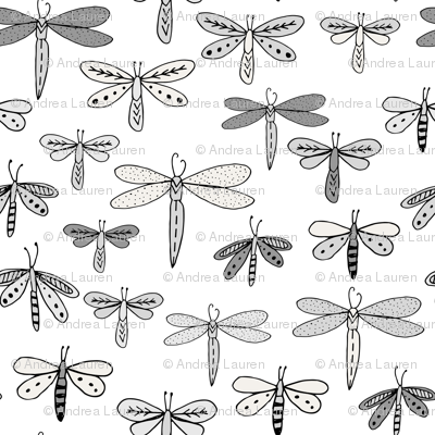 dragonflies fabric dragonfly insects girls fabric baby nursery sweet little girls fabric - grey