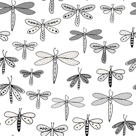 dragonflies fabric dragonfly insects girls fabric baby nursery sweet little girls fabric - grey fabric by andrea_lauren on Spoonflower - custom fabric