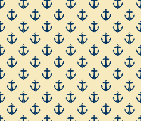 anchors_navy_on_cream fabric by heretherebemonsters on Spoonflower - custom fabric