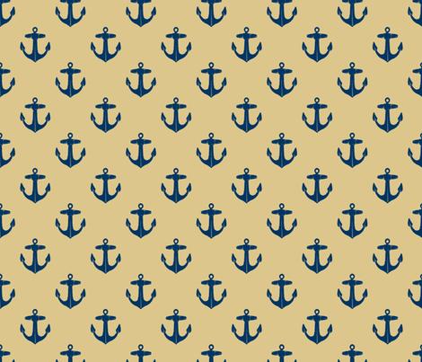 anchors_navy_on_khaki fabric by heretherebemonsters on Spoonflower - custom fabric