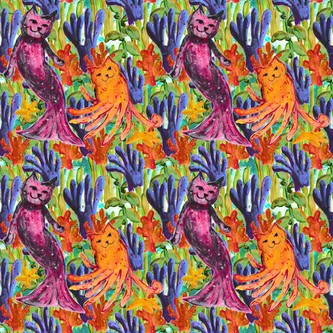 Mer-Cat & Octo-Kitty -small fabric by amyjeanne_wpg on Spoonflower - custom fabric