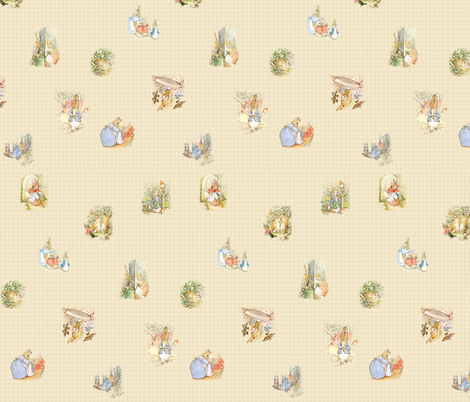 Peter Rabbit Tossed Kraft / Light Tan Gingham fabric by aspenartsstudio on Spoonflower - custom fabric