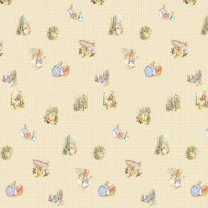 Peter Rabbit Tossed Kraft / Light Tan Gingham