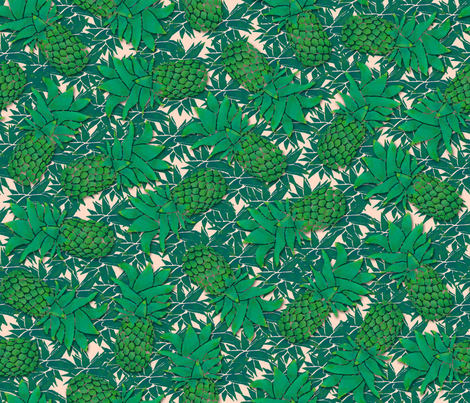 Pineapples on nude fabric by elevenmakes on Spoonflower - custom fabric