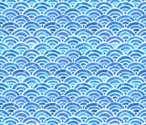 Seigaiha Blue Sea Waves fabric by hazelnut_green on Spoonflower - custom fabric