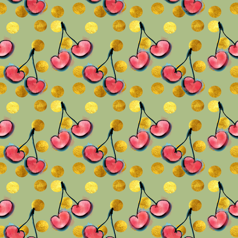 cherry with gold dots fabric by bruxamagica on Spoonflower - custom fabric