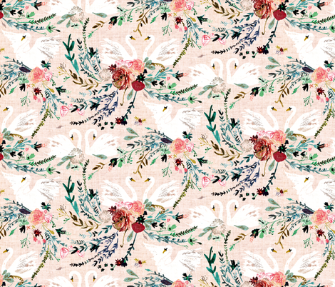 Fable Swan Damask (SML)  (blush/ white)  fabric by nouveau_bohemian on Spoonflower - custom fabric
