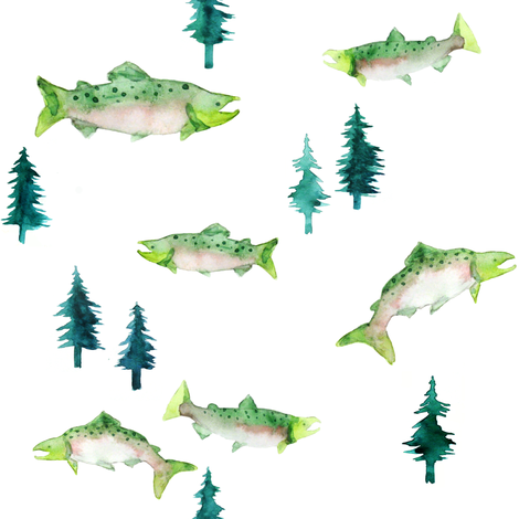 Pacific Northwest Salmon fabric by hazelnut_green on Spoonflower - custom fabric